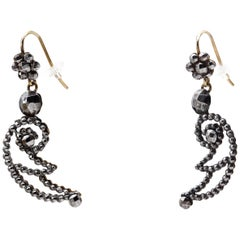 Lightning Bolts or Crescent Moons Earrings of Cut Steel From Victorian England
