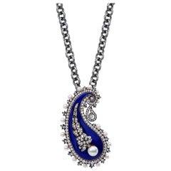 Original Victorian Enamel Diamond Pearl Brooch/Pendant Necklace