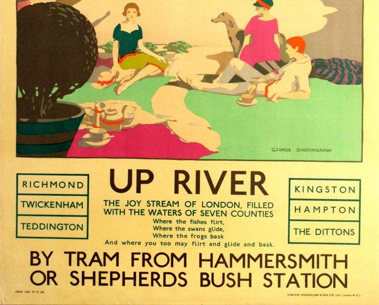 British Original Vintage 1926 London Transport Poster Up River Thames Twickenham Hampton For Sale