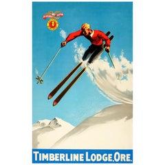 Original Vintage 1930s Ski Poster For Timberline Lodge Oregon & Splitkein Ostbye