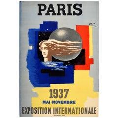 Original Vintage 1937 Exposition Internationale Paris Poster Modern Art Design