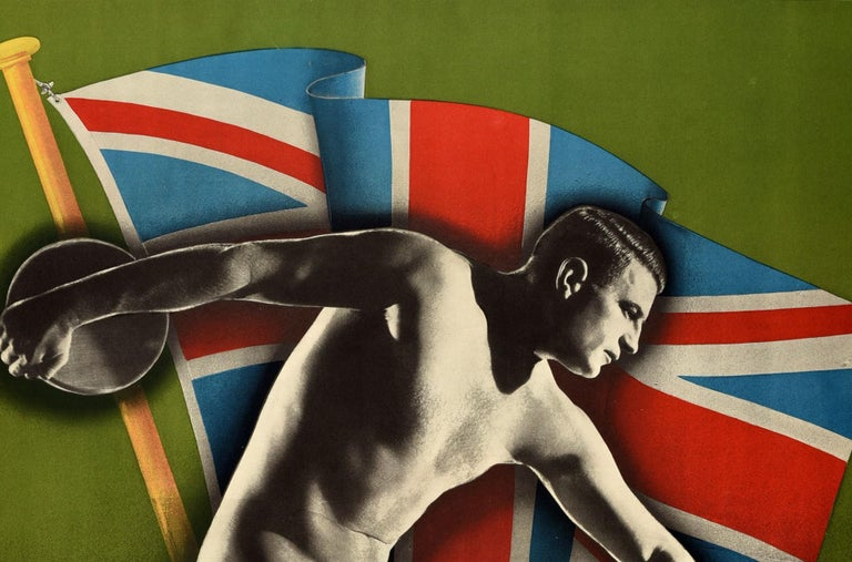 Original vintage sporting event poster for The British Empire Games 5-12 February 1938 Sydney Australia – Australia's 150th Anniversary Celebrations. Colorful dynamic design featuring a black and white image of a nude athlete in position to throw a