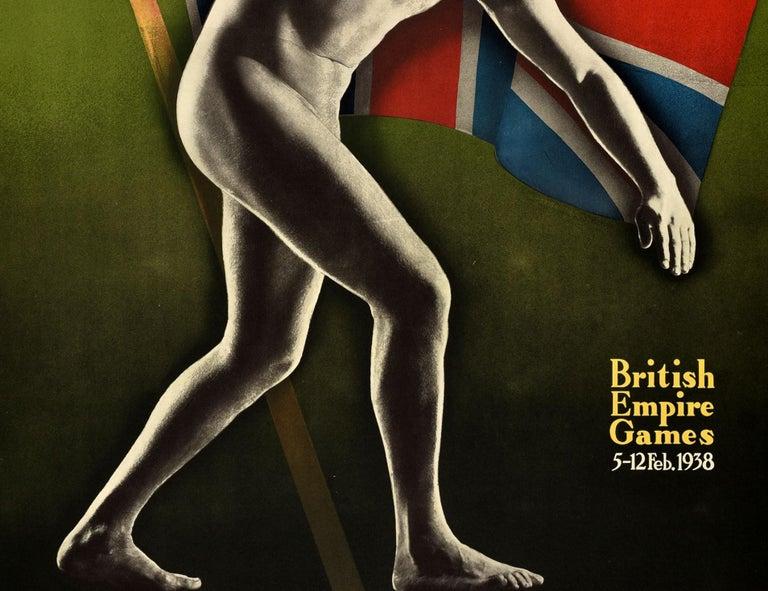 Australian Original Vintage 1938 British Empire Games Poster Sydney Australia Commonwealth For Sale