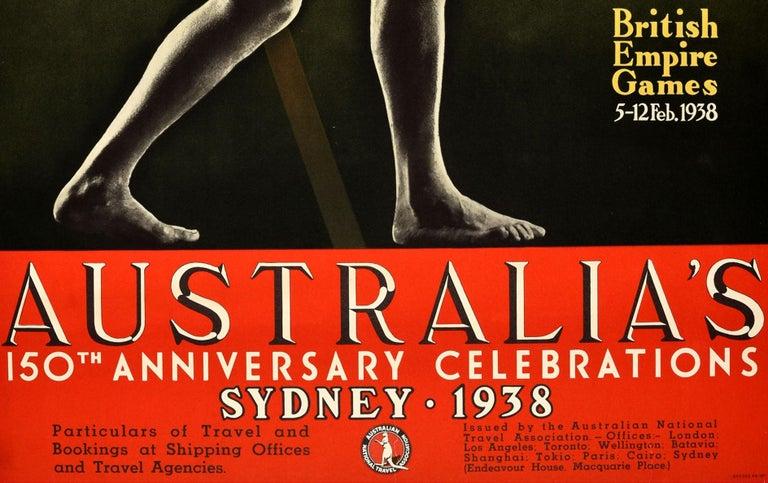 Original Vintage 1938 British Empire Games Poster Sydney Australia Commonwealth In Good Condition For Sale In London, GB