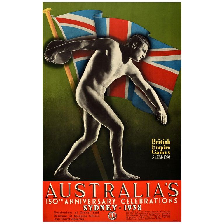 Original Vintage 1938 British Empire Games Poster Sydney Australia Commonwealth For Sale