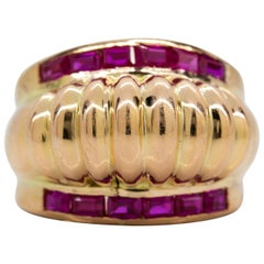 Original Vintage 1940s Retro Ruby Ring