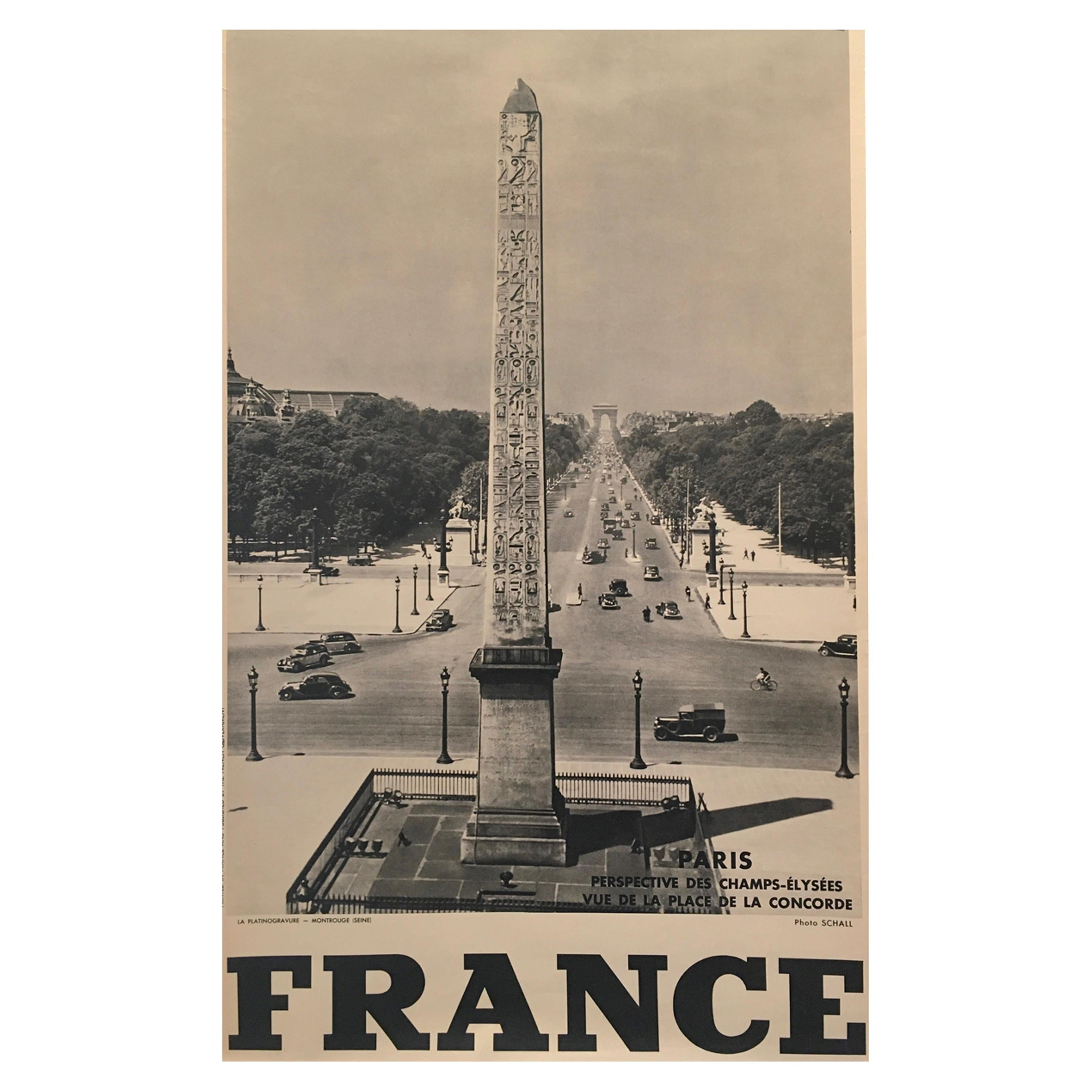 Original Vintage 1950s French Government Tourism Poster 'Champs-Elysees'