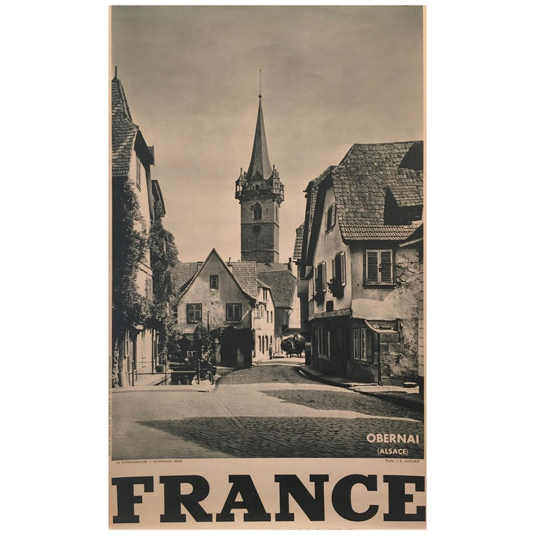 Original Vintage 1950s French Government Tourism Poster 'Obernai' For Sale