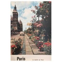 Original Vintage 1950s French Government Tourism Poster Paris Flower Market