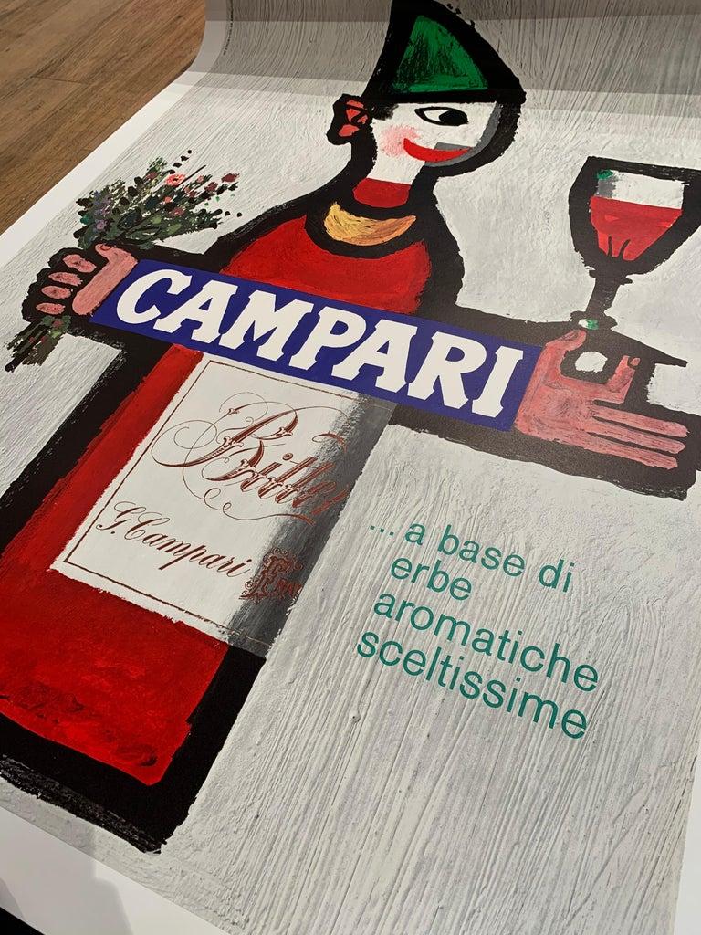 Original vintage 1960's advertising poster, 'CAMPARI' by Piatti.   Year 1966  Dimension: 90 x 128cm  Condition Excellent  Artist Piatti  Format Linen-backed  This poster is in excellent condition.   Original vintage drink
