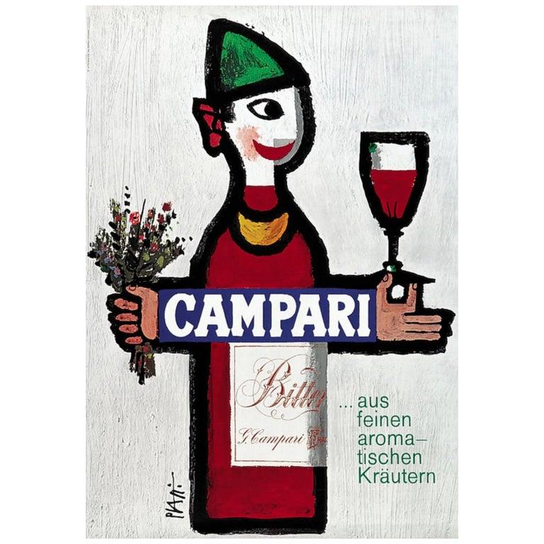 Original Vintage 1960's Advertising Poster, 'CAMPARI' by Piatti For Sale