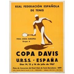 Original Vintage 1967 Copa Davis Cup Tennis Poster Sport USSR Spain URSS Espana