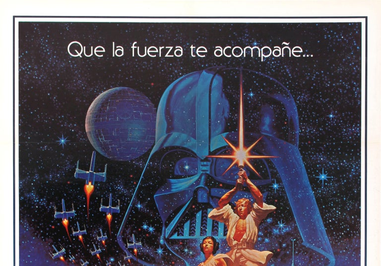 Original vintage movie poster for the first film in the iconic Star Wars saga by George Lucas starring Mark Hamill as Luke Skywalker, Harrison Ford as Han Solo, Carrie Fisher as Princess Leia, Alec Guinness as Obi Wan-Kenobi, Anthony Daniels and