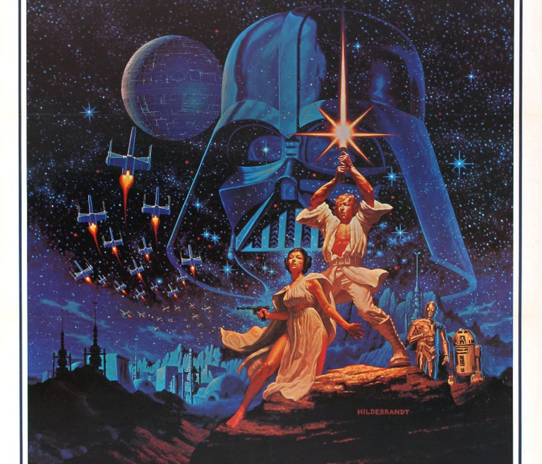 American Original Vintage 1977 Iconic Star Wars Movie Poster By The Hildebrandt Brothers For Sale