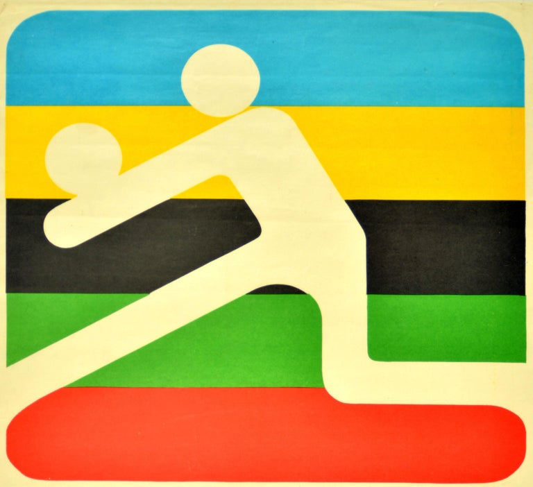 Original vintage sport poster promoting volleyball at the 22nd Summer Olympic Games / Games of the XXII Olympiad in 1980 held in Moscow Russia featuring a colorful pictogram design for Olympic volleyball against a striped background of the five