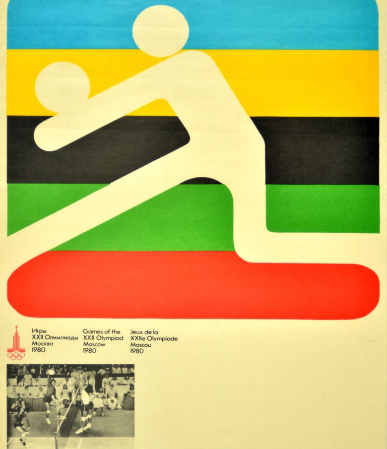 Original Vintage 1980 Summer Olympic Games Poster Volleyball Moscow Russia Sport In Good Condition For Sale In London, GB