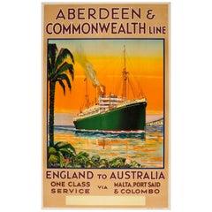 Original Vintage Aberdeen & Commonwealth Line Travel Poster England to Australia