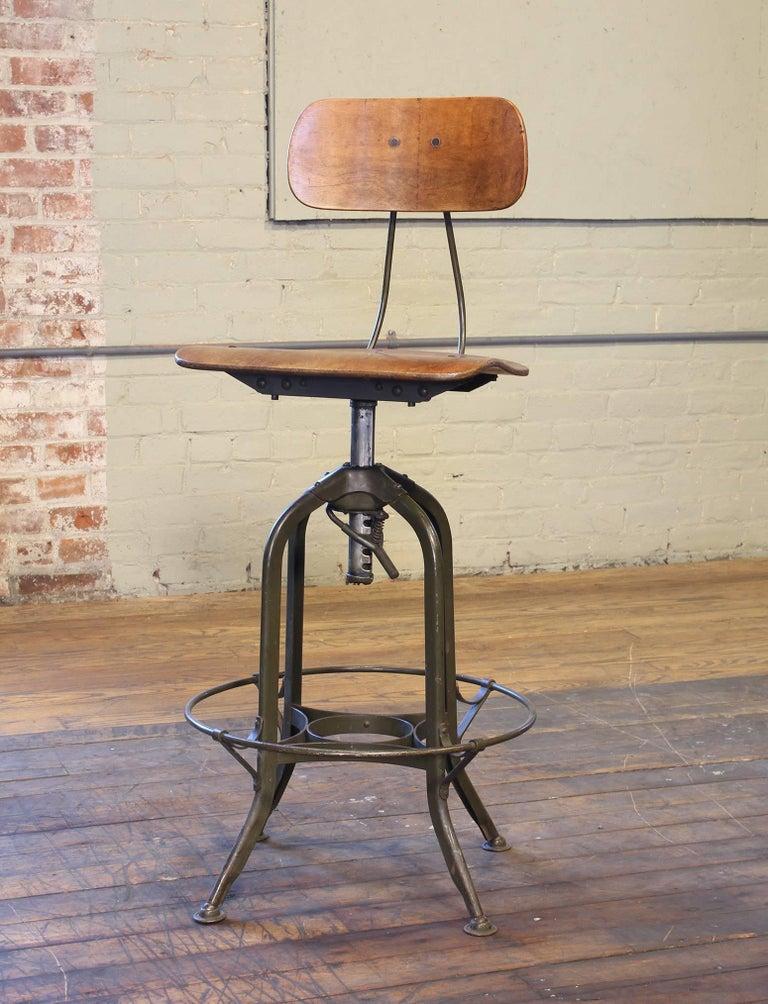 Industrial Original Vintage Adjustable Toledo Bar Stool Drafting Chair For Sale
