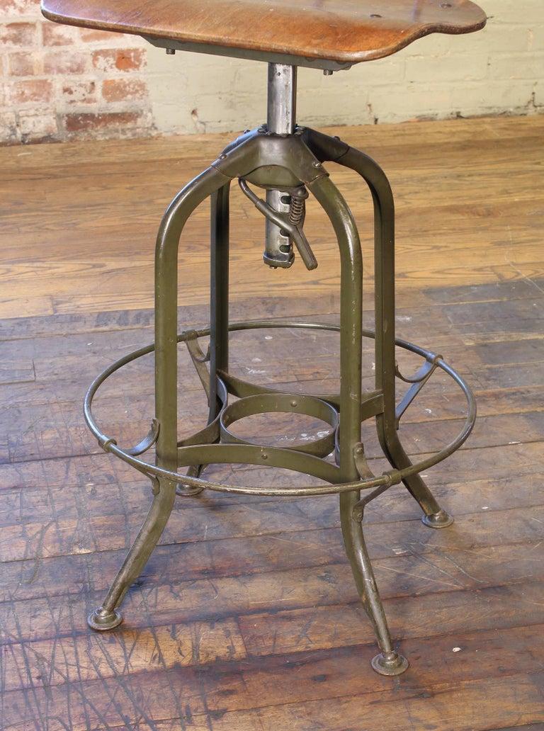 Original Vintage Adjustable Toledo Bar Stool Drafting Chair For Sale 1