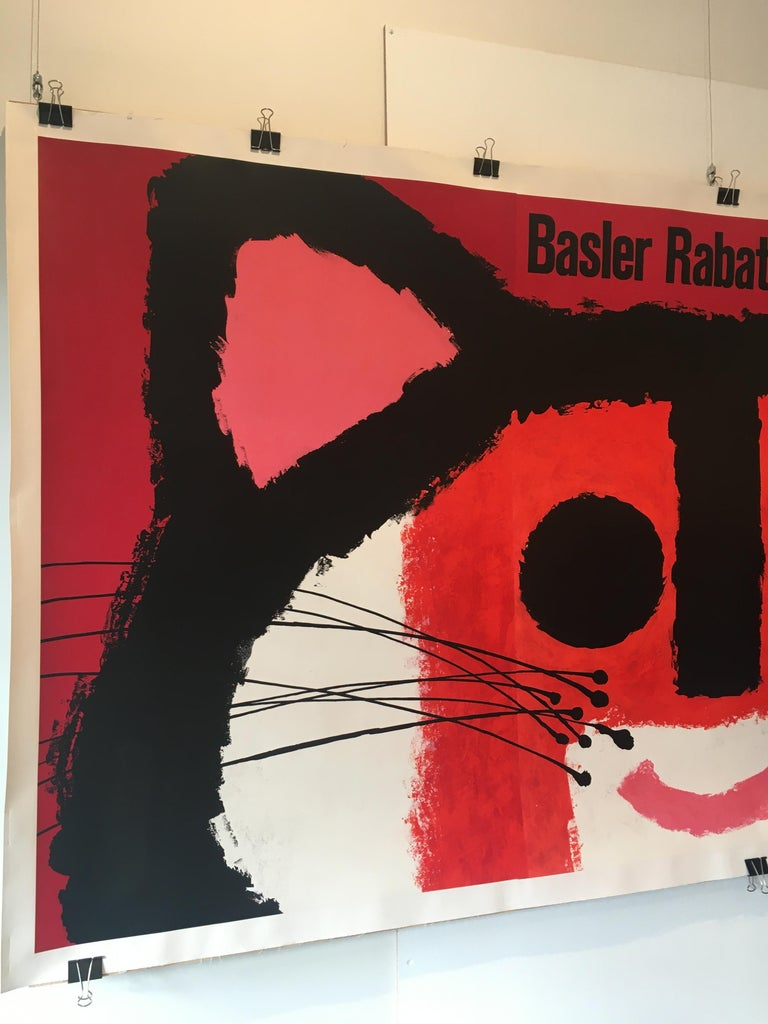 Original vintage advertising poster by Swiss Artist Piatti 'Basler Rabattmarke'   Condition Excellent  Format Linen backed  Dimensions 130 x 270 cm  Year 1964  Artist Piatti Celestino