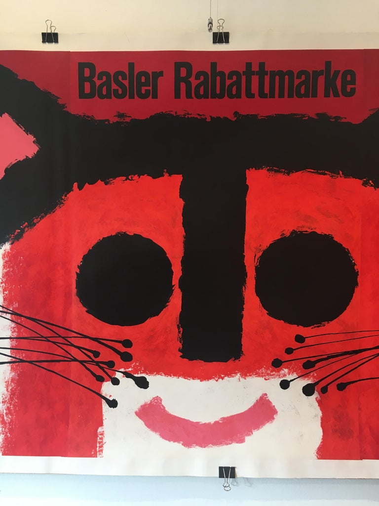 French Original Vintage Advertising Poster by Swiss Artist Piatti 'Basler Rabattmarke' For Sale