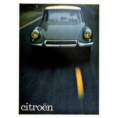 Original Vintage Advertising Poster Citroen DS On The Road Car Design Photograph