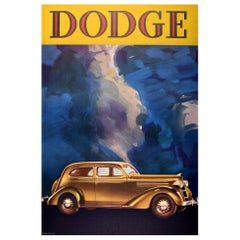 Original Vintage Advertising Poster Dodge Classic Car Art Deco Design America