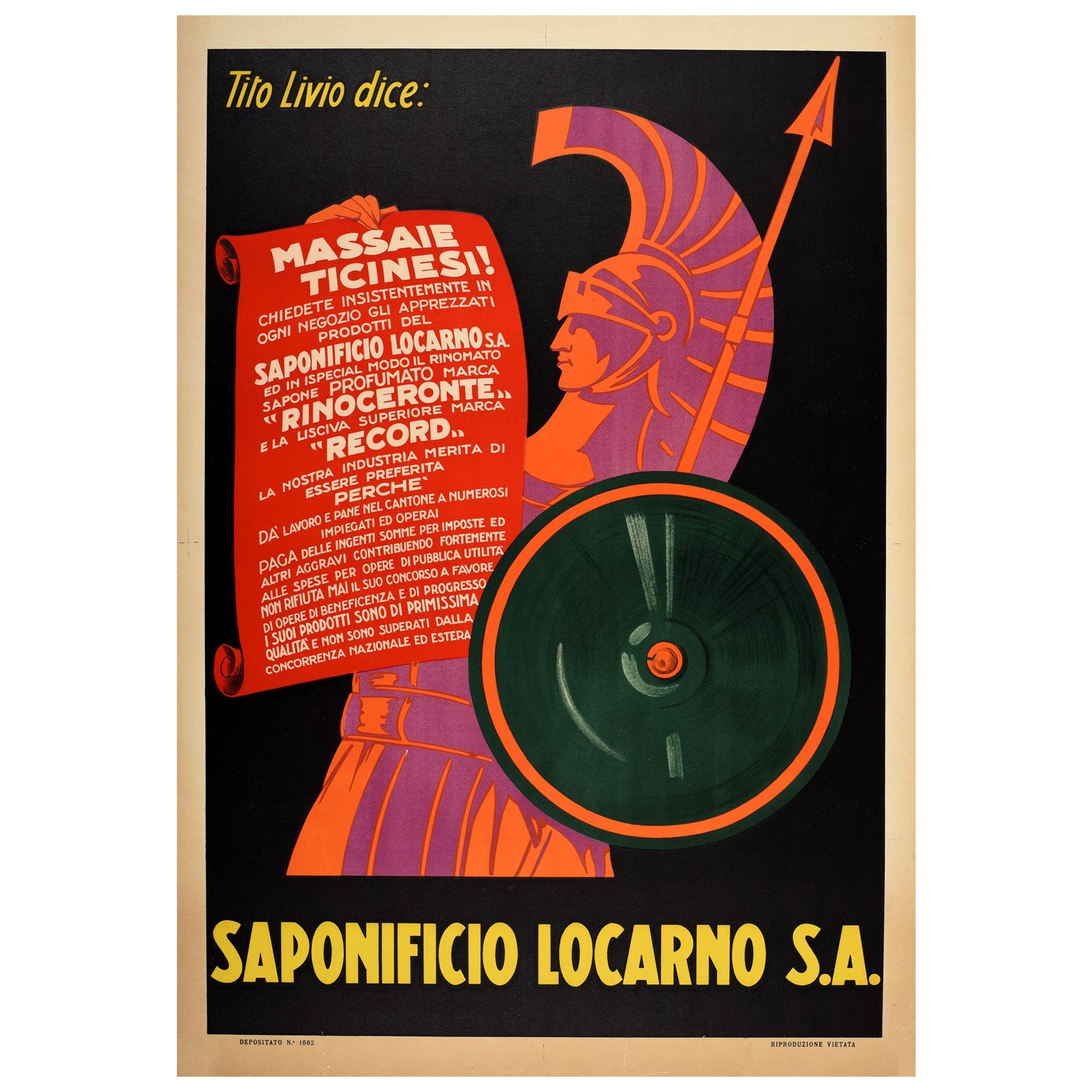 Original Vintage Advertising Poster For Saponificio Locarno Roman Warrior Design