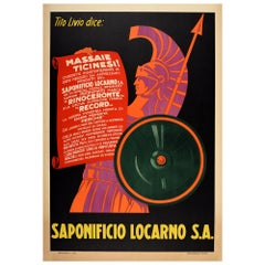 Original Vintage Advertising Poster For Saponificio Locarno Roman Warrior Design