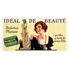 Original Vintage Advertising Poster Palmolive Soap Ideal Beauty Aphrodite Design