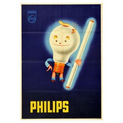 Original Vintage Advertising Poster Philips Lighting Smiling Light Bulb Design