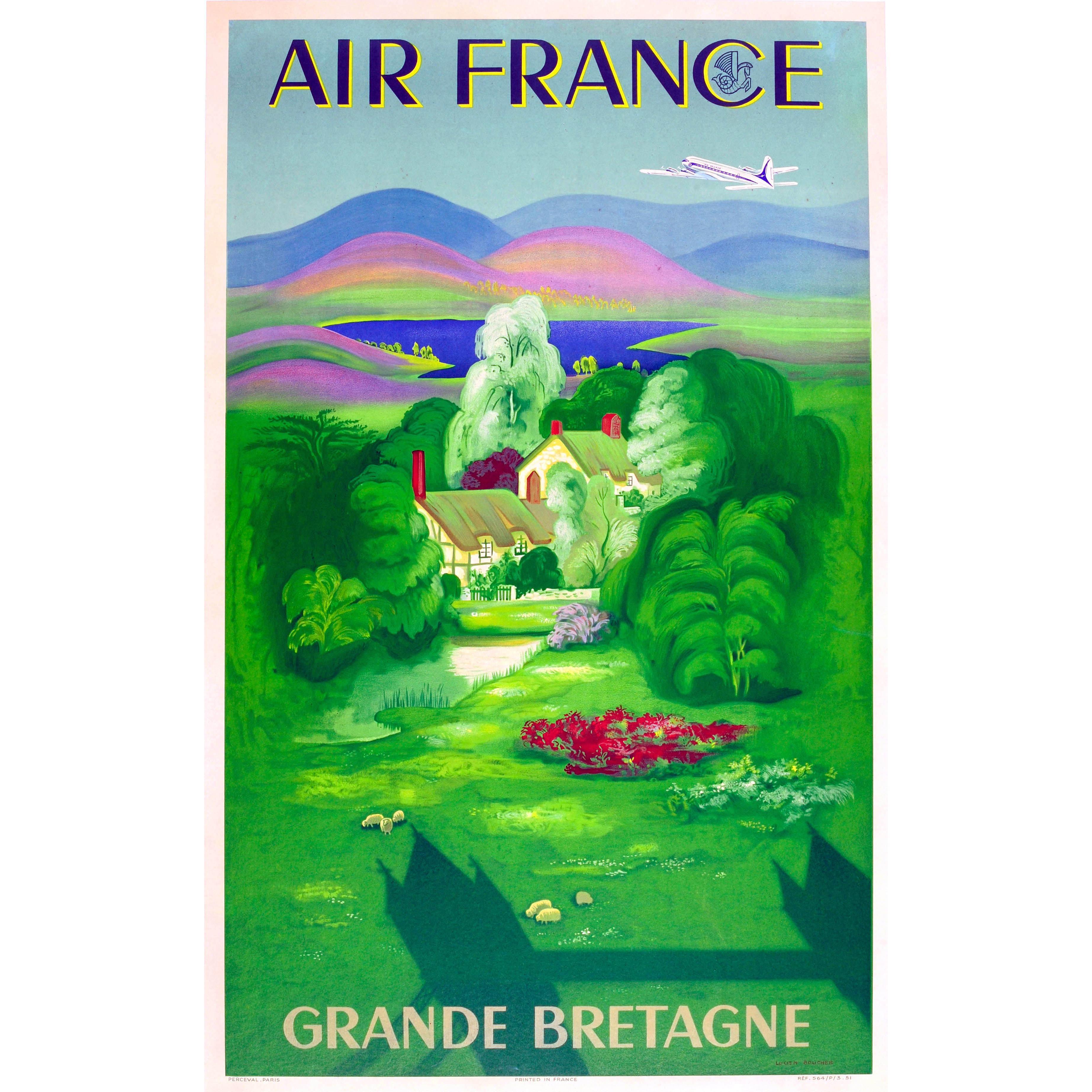 Original Vintage Air France Travel Poster For Grande Bretagne Great Britain (GB)