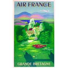 Original Vintage Air France Travel Poster For Grande Bretagne Great Britain (GB)