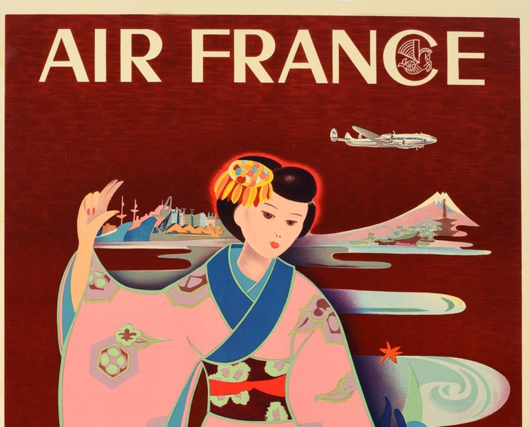 Original vintage travel poster for Air France advertising flights from Paris - Tokio (Tokyo Japan) featuring a colourful illustration of an elegant lady wearing a traditional Japanese kimono and decorative hair piece, surrounded by flowers with a
