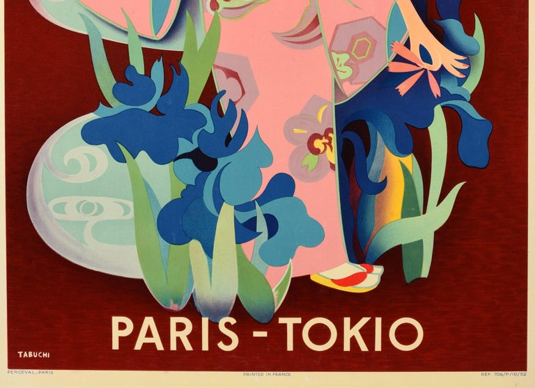 Original Vintage Air France Travel Poster Paris Tokio Tokyo Japan Mount Fuji In Good Condition For Sale In London, GB