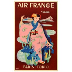 Original Vintage Air France Travel Poster Paris Tokio Tokyo Japan Mount Fuji