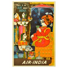 Original Vintage Air India Travel Poster There Is An Air About India Maharajah