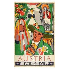 Original Vintage Air Line Travel Poster Austria Swissair Flowers Festival Art