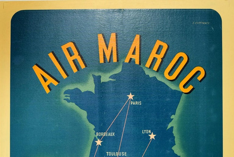 Original vintage travel poster advertising Air Maroc. Great design featuring a stylised image of a jet plane flying towards the viewer with propellers on each wing and a route map in the background of France and Spain in Europe and Morocco in North