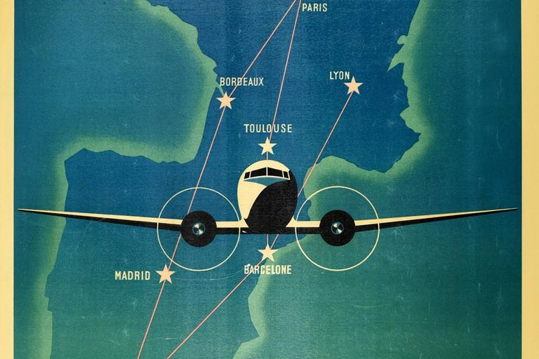 French Original Vintage Air Maroc Travel Poster Route Map France Morocco Spain Services For Sale