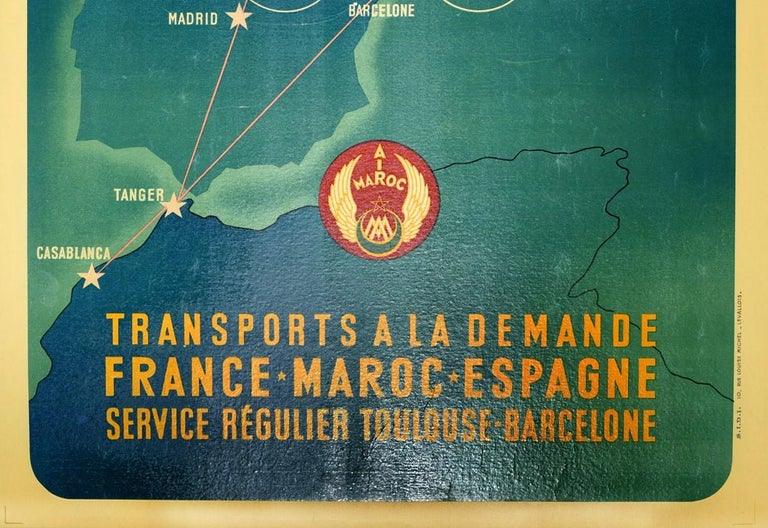 Original Vintage Air Maroc Travel Poster Route Map France Morocco Spain Services In Good Condition For Sale In London, GB
