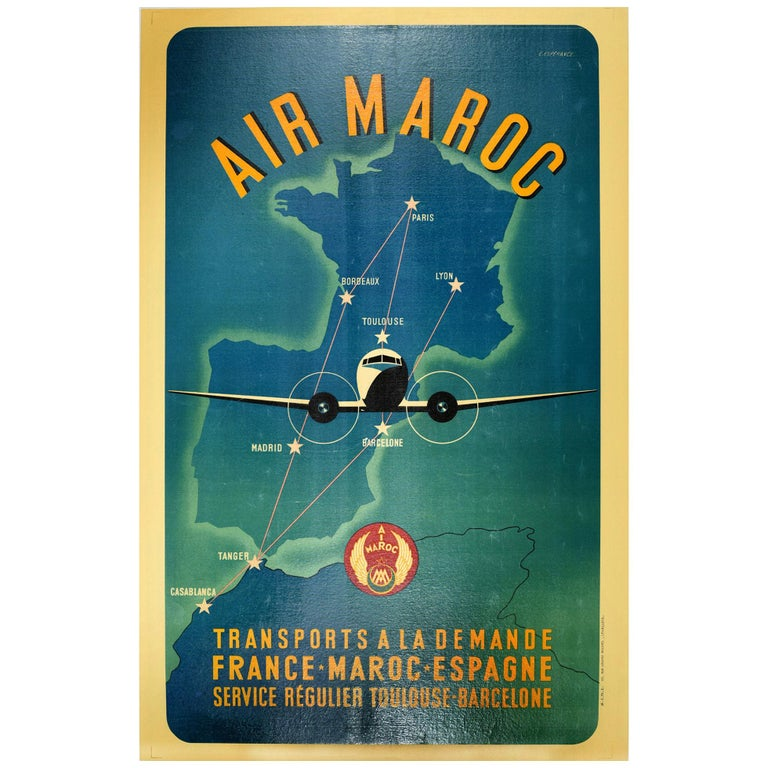 Original Vintage Air Maroc Travel Poster Route Map France Morocco Spain Services For Sale