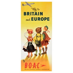 Original Vintage Air Travel Poster Fly To Britain And Europe By BOAC Speedbird