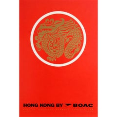Original Vintage Air Travel Poster for Hong Kong by BOAC Ft. Gold Dragon Design