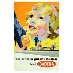 Original Vintage Air Travel Poster Sabena You're In Good Hands Midcentury Design