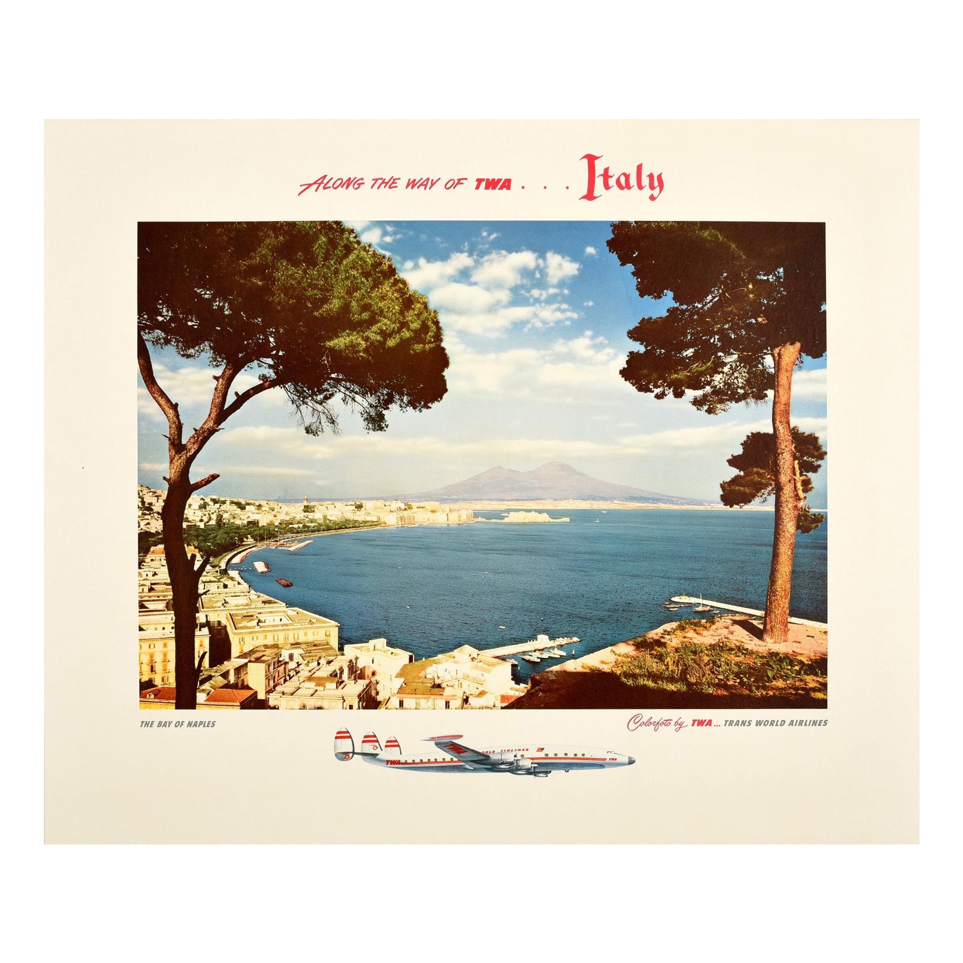 Original Vintage Air Travel Poster TWA Italy Bay Of Naples Mount Vesuvius Coast