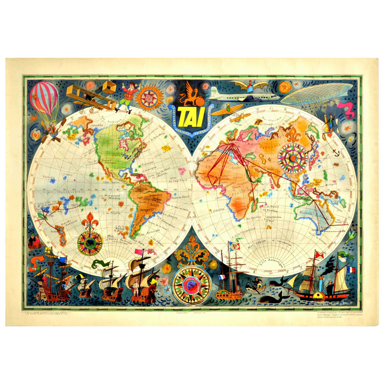 Original Vintage Airline Travel Poster TAI Planisphere Illustrated Map Aviation
