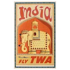 Original Vintage Airline Travel Poster TWA India Circa 1952, David Klein