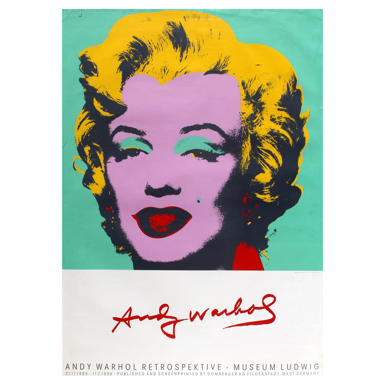 Original Vintage Andy Warhol Art Exhibition Poster Marilyn Monroe Pop Art Design