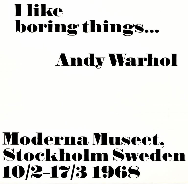 Original Vintage Andy Warhol Exhibition Poster I Like Boring Things Modern Art In Good Condition In London, GB